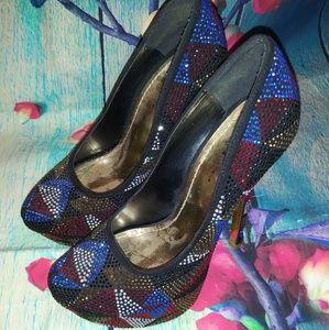 Shi By Journey's Geometric Studded Platform Heels